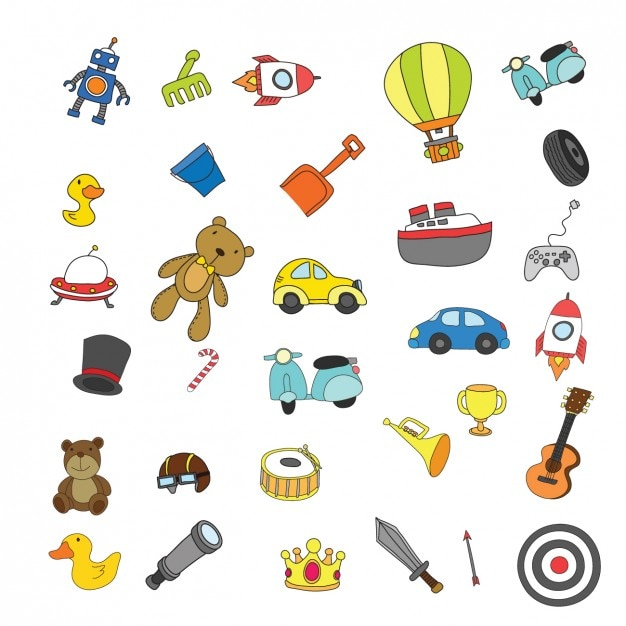 Colección de juguetes de niños a color | Descargar Vectores gratis