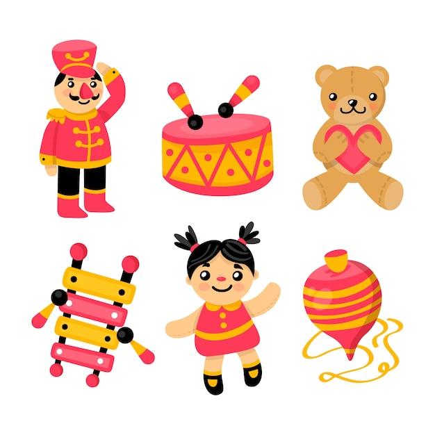 Colección de juguetes para niños diseño plano vector gratuito