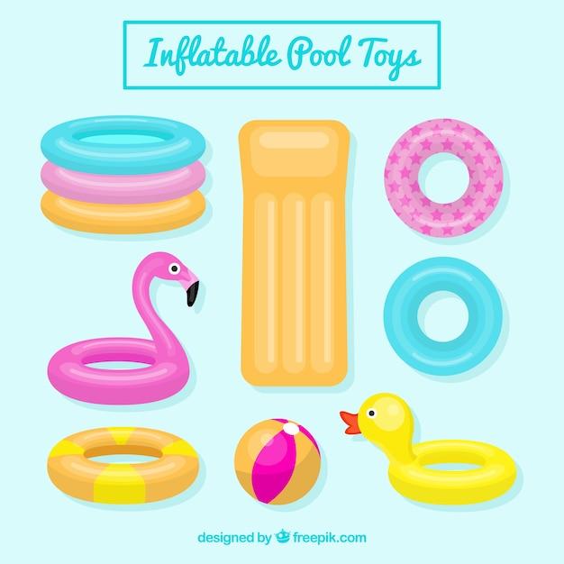Colección de juguetes de piscina inflables Vector Premium