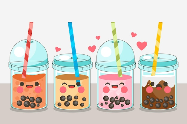 Colección kawaii bubble tea vector gratuito