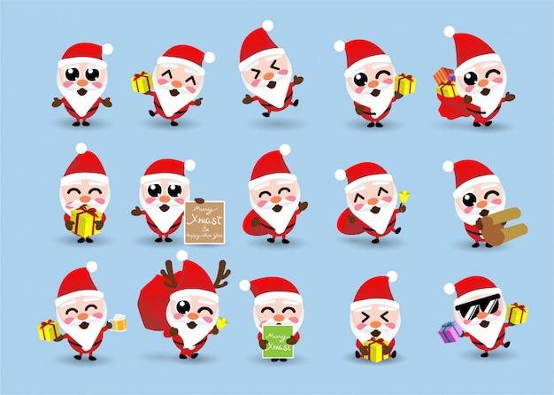 Coleccion De Kawaii Linda Navidad Santa Claus Feliz Ano Nuevo
