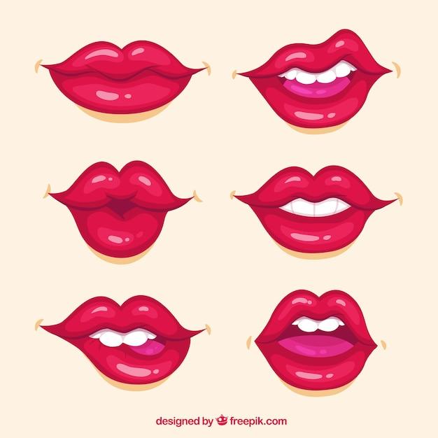 Colección de labios con color rojo Vector Premium