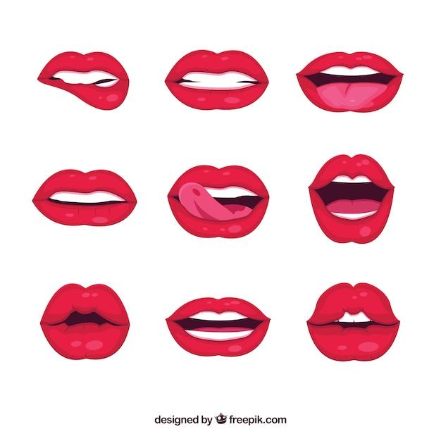 Colección de labios femeninos con estilo de 2d vector gratuito