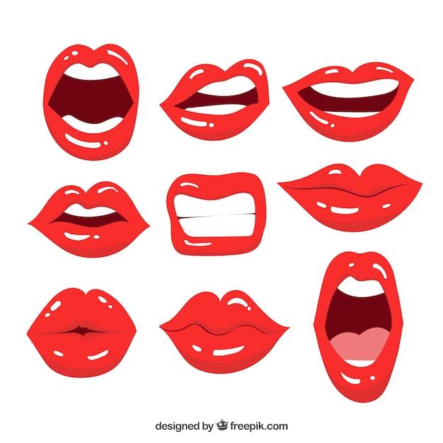 Colección de labios femeninos con estilo de 2d Vector Premium