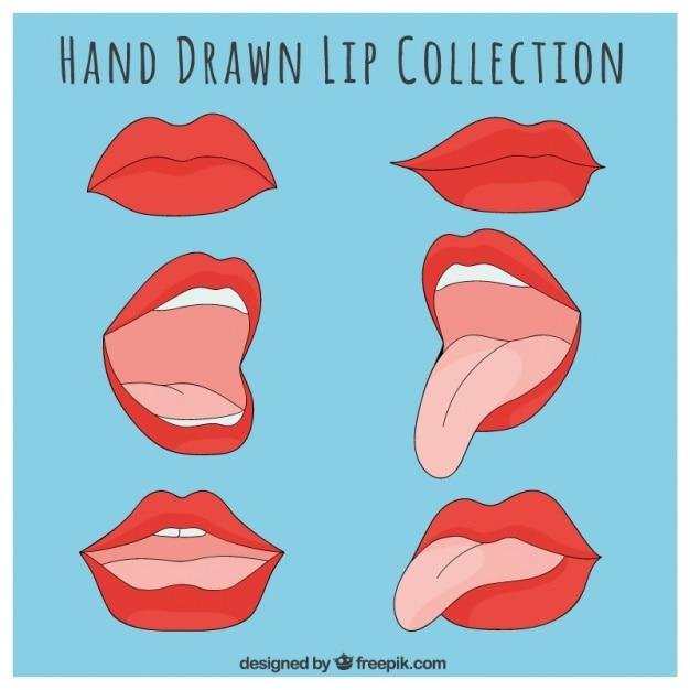 Colección de labios rojos dibujados a mano vector gratuito