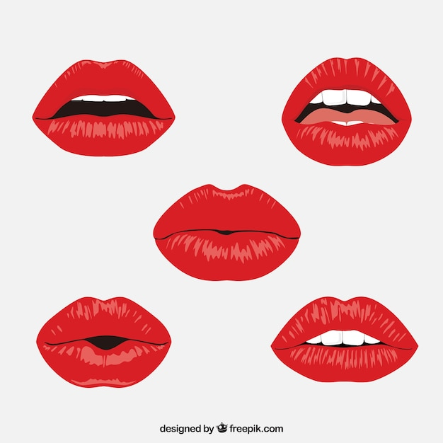 Colección de labios rojos con diseño plano Vector Premium