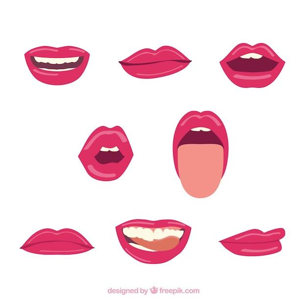 Colección de labios rojos con diseño plano vector gratuito