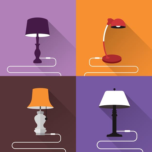 Colección de lamparas a color vector gratuito