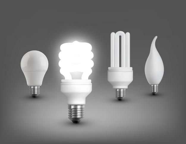 Colección de lámparas realistas vector gratuito