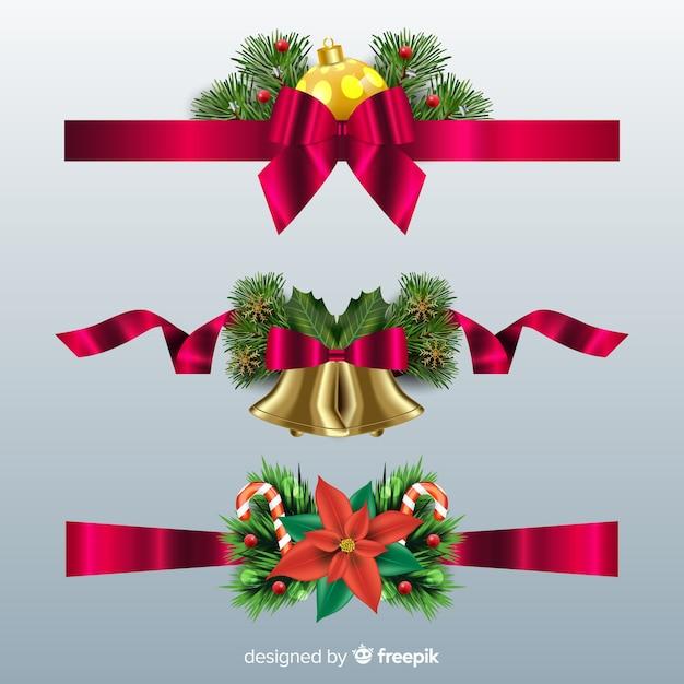 Imagenes Lazos De Navidad.Coleccion De Lazos De Navidad Realista Descargar Vectores