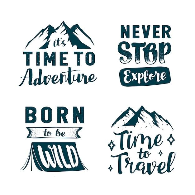 Colección de letras de camping y aventuras Vector Premium