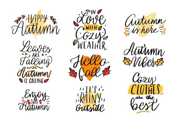 Colección de letras de otoño. feliz otoño. enamorado del clima acogedor. afuera llueve vector gratuito