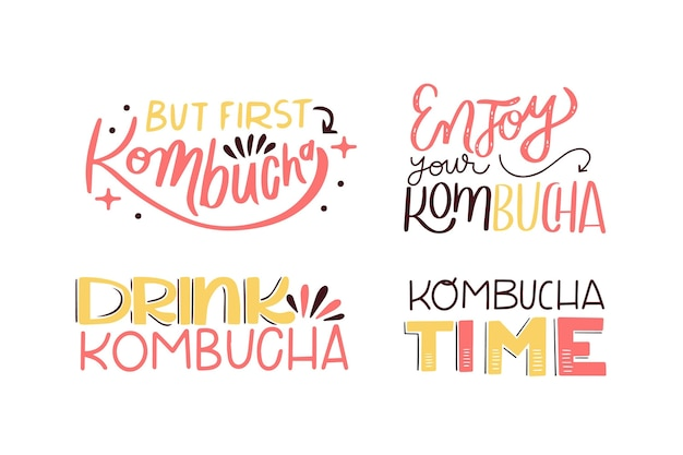 Colección de letras de té de kombucha vector gratuito