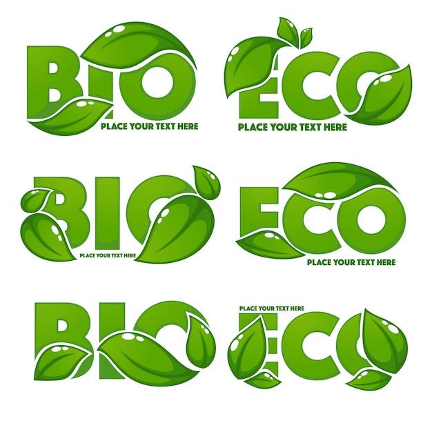 Colección de letreros de hojas brillantes y brillantes, símbolos ecológicos y lemas orgánicos bio Vector Premium