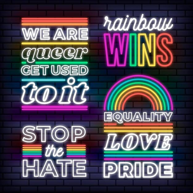 Colección de letreros de neón del día del orgullo vector gratuito