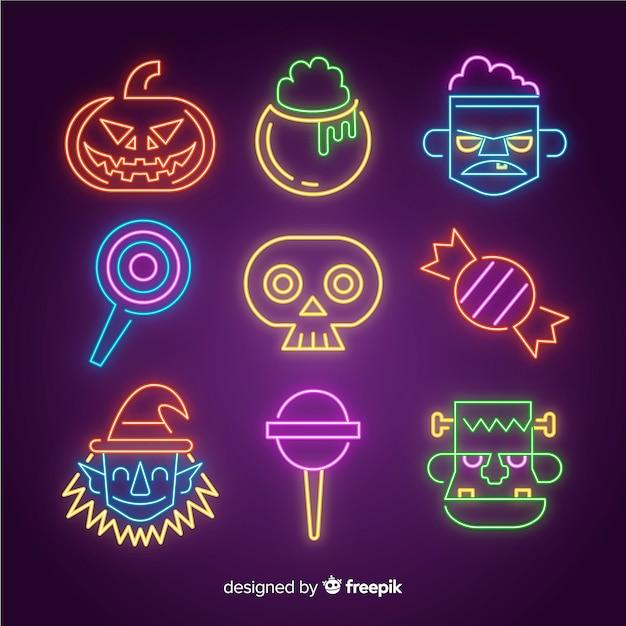 Colección de letreros de neón de elementos de halloween vector gratuito