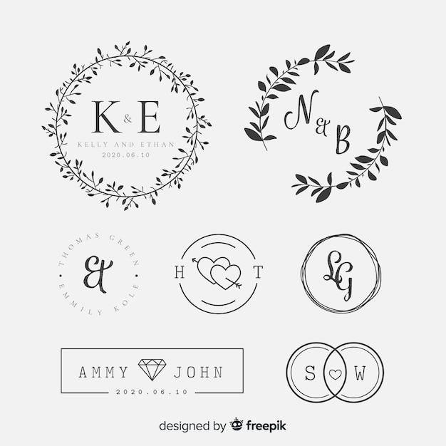 Colección lettering boda vector gratuito