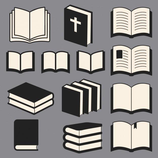 Colección de libros de la biblioteca vector gratuito