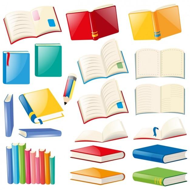 Colección de libros a color vector gratuito