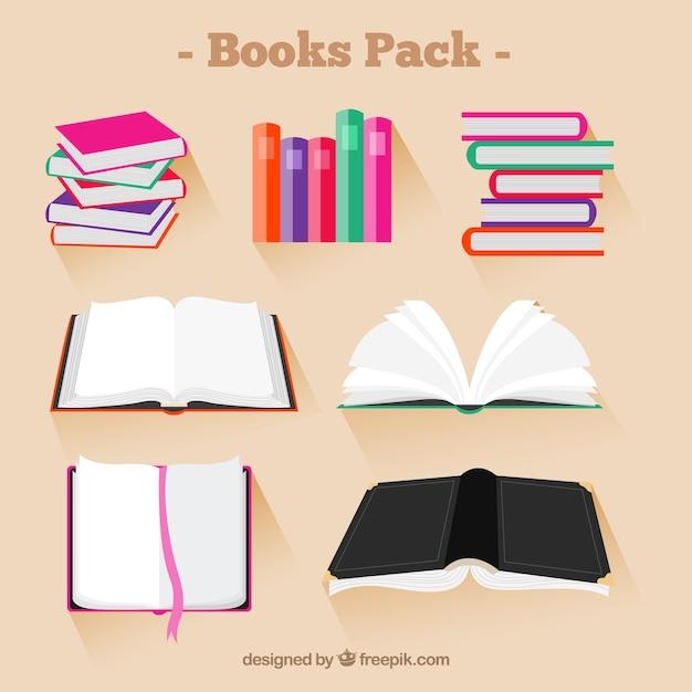 Colección de libros de colores vector gratuito