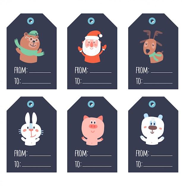 Colección de lindas etiquetas de regalo listas para usar de navidad y año nuevo azules Vector Premium