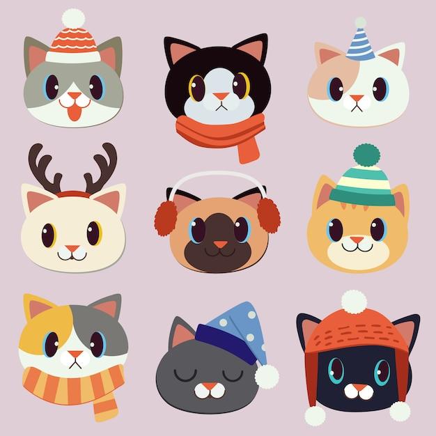 La colección de lindo gato usa un sombrero de invierno y un sombrero de fiesta y un cuerno de ciervo. Vector Premium