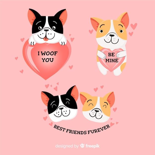 Colección de lindos perros enamorados vector gratuito