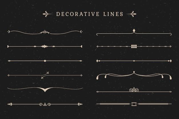 Colección de líneas decorativas vintage. vector gratuito
