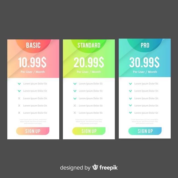 Colección de lista de precios en color degradado vector gratuito