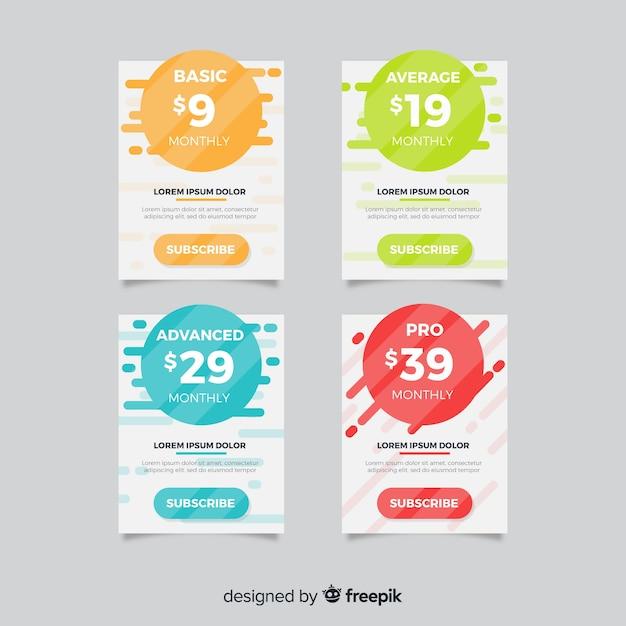 Colección de lista de precios en diseño plano vector gratuito