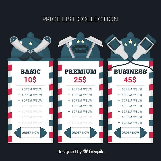 Colección de listas de precios diseño plano vector gratuito