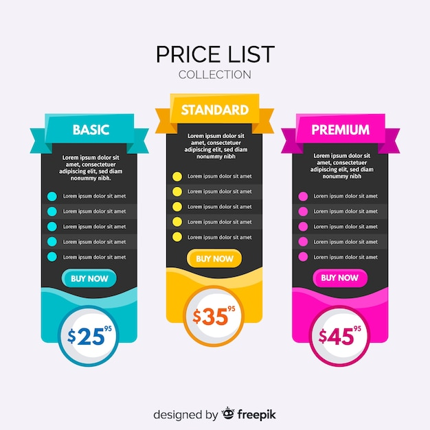 Colección listas de precios diseño plano vector gratuito