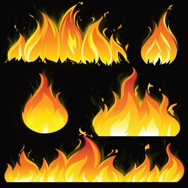 Colección de llamas a color vector gratuito
