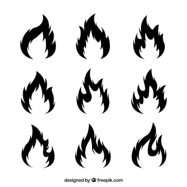 Colección de llamas de fuego negras vector gratuito