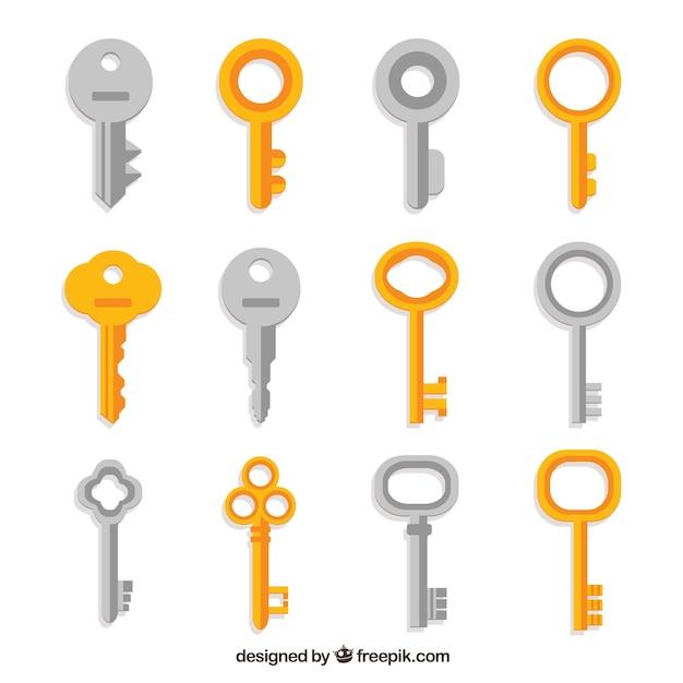 Colección de llaves plateadas y doradas vector gratuito