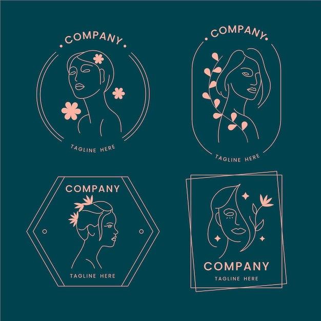 Colección de logo de cosmética natural. Vector Premium