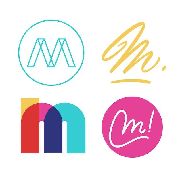 Colección de logo m vector gratuito