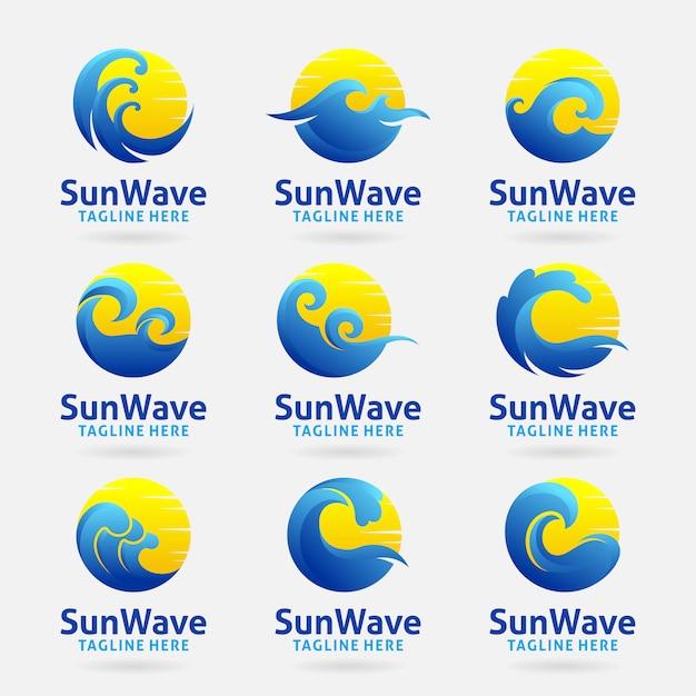 Colección del logo de la ola del sol. Vector Premium