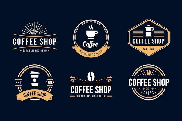 Colección de logo retro de cafetería Vector Premium