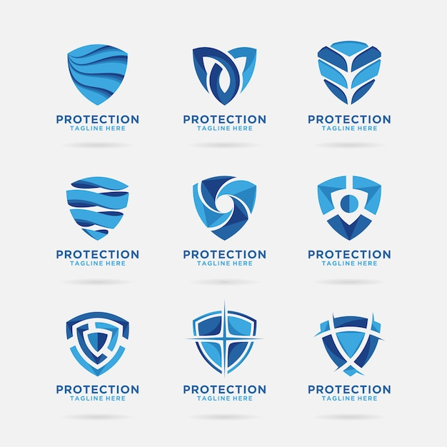 Colección del logo shield con diseño abstracto. Vector Premium