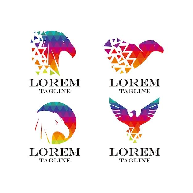 Colección de logos de aguila multicolor vector gratuito