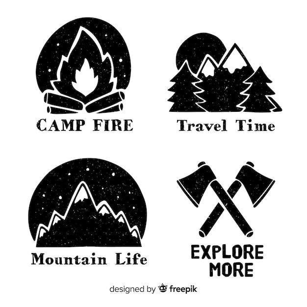 Colección logos aventura dibujados a mano sin color vector gratuito