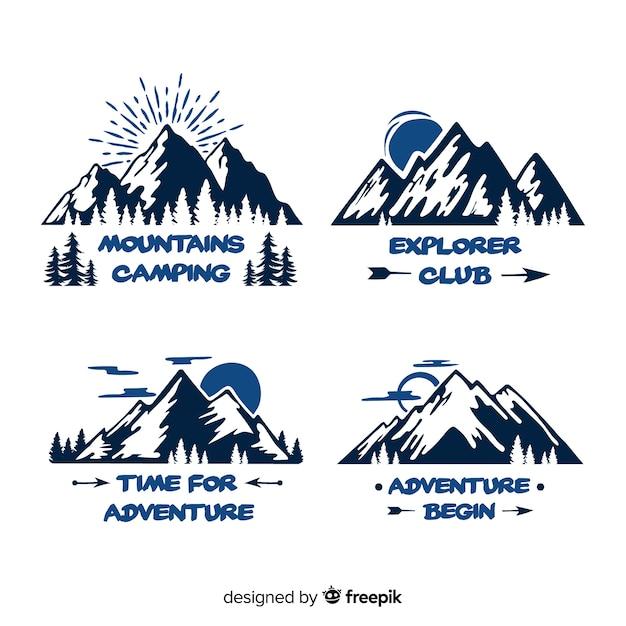 Colección logos aventura dibujados a mano vector gratuito