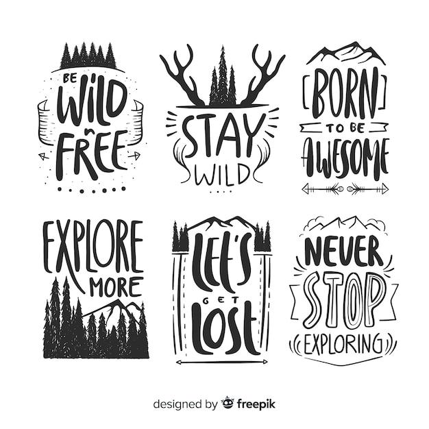 Colección de logos de aventura dibujados a mano vector gratuito
