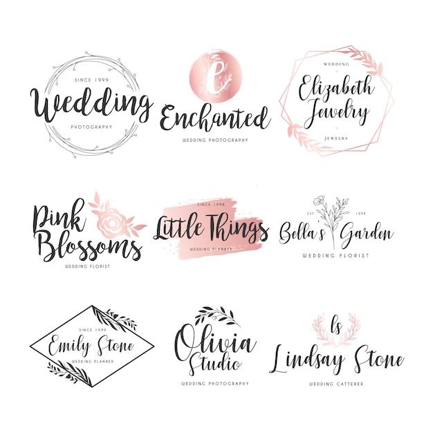 Colección de logos de boda vector gratuito