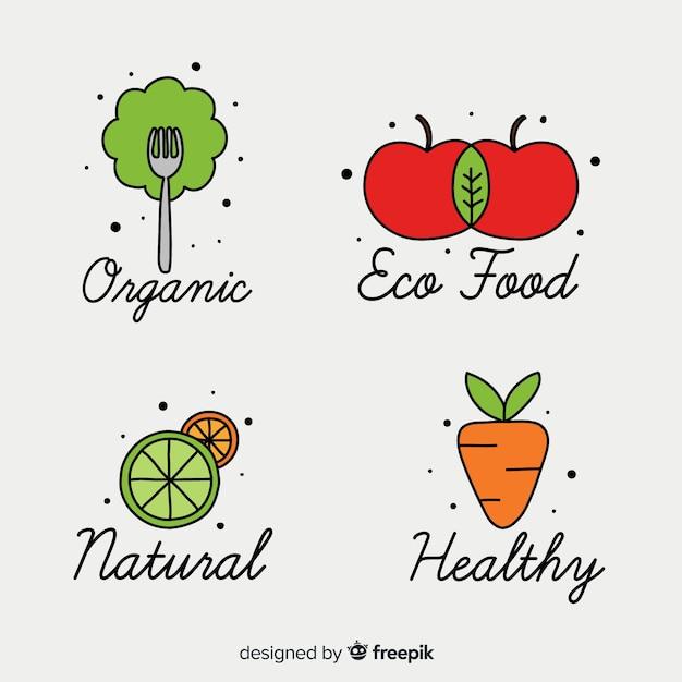 Colección de logos de comida saludable dibujados a mano vector gratuito