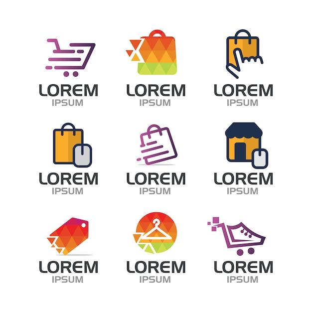 Colección de logos de compras vector gratuito