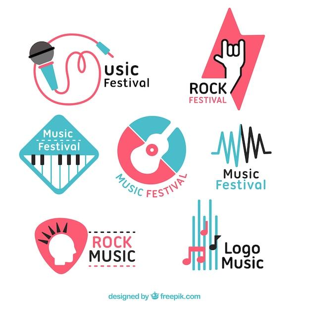 Colección de logos de festivales de música con diseño plano vector gratuito
