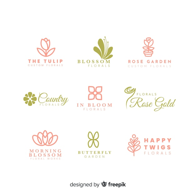 Colección de logos para la floristería de bodas. vector gratuito