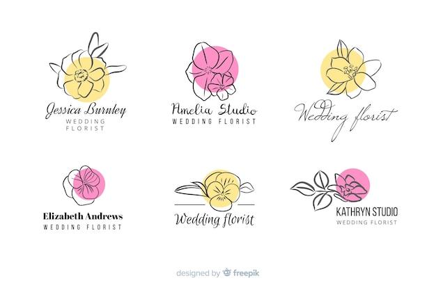 Colección de logos de floristería para bodas. vector gratuito